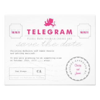 Modern Telegram Card Save the Date Announcement