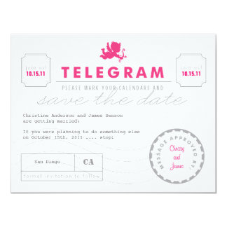 Modern Telegram Card Save the Date Announcement