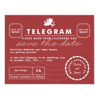 Modern Telegram Card Save the Date - Red 11 Cm X 14 Cm Invitation Card