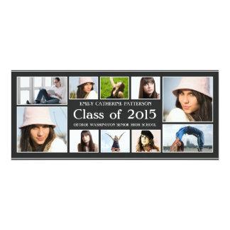 Modern Ten Photo Collage Graduation Announcment 10 Cm X 24 Cm Invitation Card