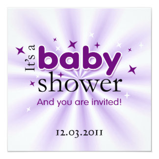 Modern Text Purple Stars Funny Baby Shower Party Invitation