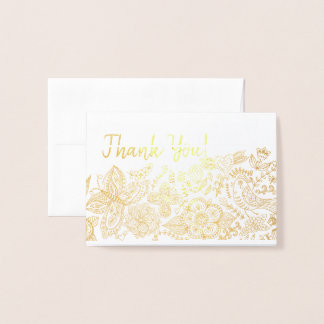 Modern Thank You! Butterfly Birds Hearts Filigree Foil Card