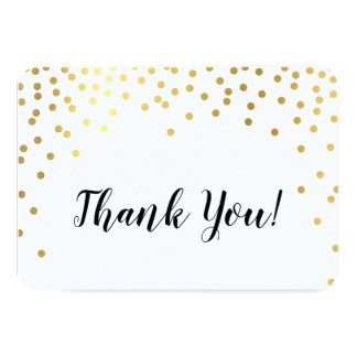 MODERN THANK YOU glamorous chic gold confetti spot Card