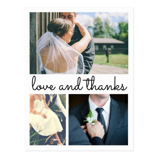 Modern Thank You Handwritten Three Wedding Photos Postcard