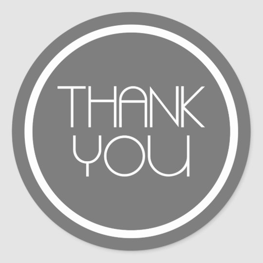 Modern Thank You Stickers (Dark Grey Silver/White)