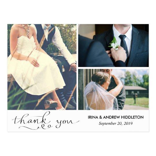 Modern Thank You Typography Three Wedding Photos Postcard