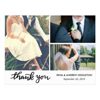 Modern Thank You Typography Three Wedding Photos Postcard
