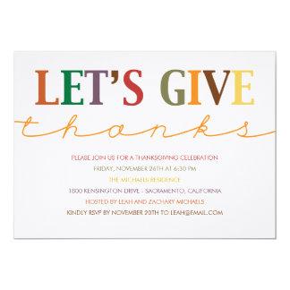 """Modern Thanksgiving Dinner Invitation 5"""" X 7"""" Invitation Card"""
