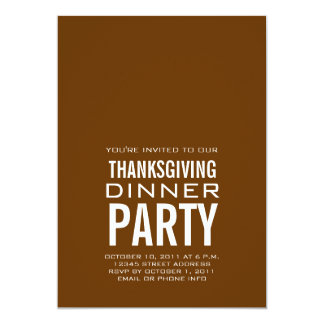 MODERN THANKSGIVING DINNER PARTY INVITATION BROWN
