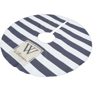 Modern Thick White Stripes - Personalized Family Brushed Polyester Tree Skirt