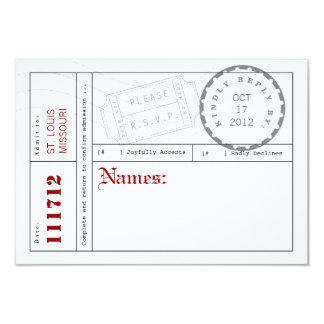 Modern Ticket Tab Response Card 9 Cm X 13 Cm Invitation Card