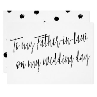 "Modern ""To my Father-in-law on my wedding day"" 13 Cm X 18 Cm Invitation Card"