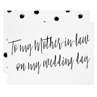 "Modern ""To my mother-in-law on my wedding day"" Card"