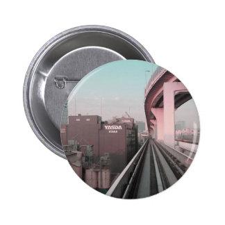 Modern Tokyo train Pinback Buttons