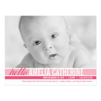 Modern Tones Birth Announcement - Pink Post Cards