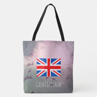 Modern tote bag with British flag