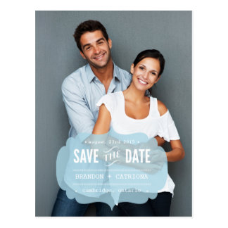 Modern Transparent Label | Save the Date Postcard