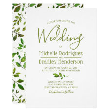 Modern Tree Greenery Watercolor Foliage Wedding