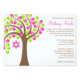 Modern Tree of Life Pink Green Bat Mitzvah Card