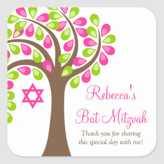 Modern Tree of Life Pink Green Bat Mitzvah Square Sticker