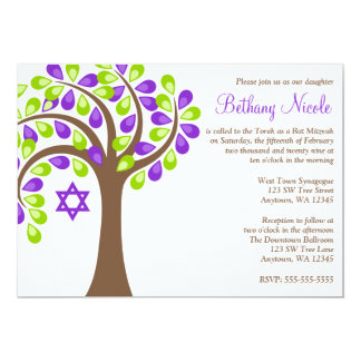 Modern Tree of Life Purple Green Bat Mitzvah 13 Cm X 18 Cm Invitation Card