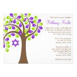 Modern Tree of Life Purple Green Bat Mitzvah Personalized Invitation