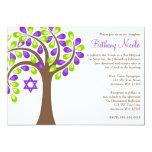 Modern Tree of Life Purple Green Bat Mitzvah 13 Cm X 18 Cm Invitation Card