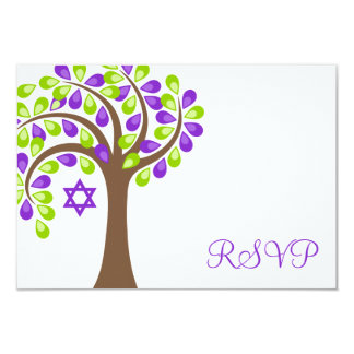 Modern Tree of Life Purple Green Bat Mitzvah RSVP Card