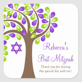 Modern Tree of Life Purple Green Bat Mitzvah Square Sticker