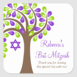 Modern Tree of Life Purple Green Bat Mitzvah Square Stickers