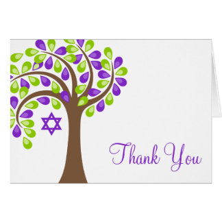 Modern Tree of Life Purple Green Thank You Card