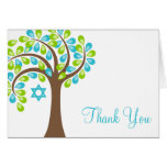 Modern Tree of Life Teal Blue Green Thank You Note Card