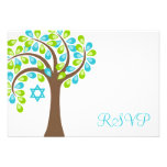 Modern Tree of Life Teal Green Bat Mitzvah RSVP Invitations