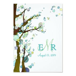 Modern Trees Monogram White Spring Wedding 13 Cm X 18 Cm Invitation Card