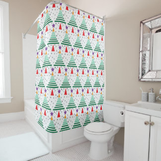 Modern Trees Pattern Christmas Shower Curtain