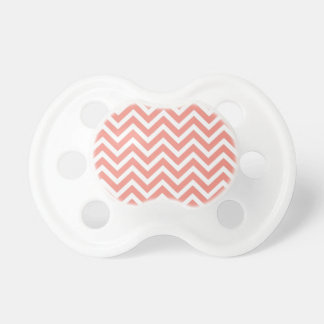 modern trend coral chevron baby pacifiers