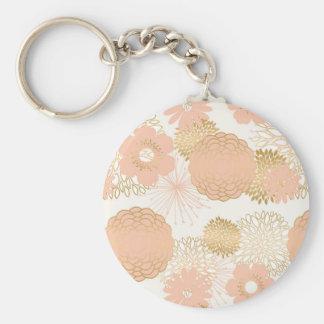 modern trends blush flower blooms key ring