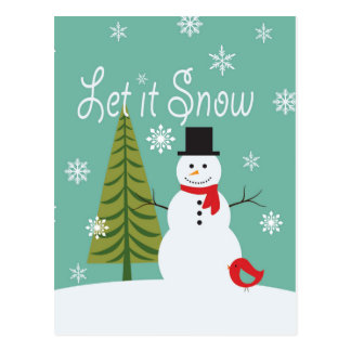modern trends winter snowman postcard