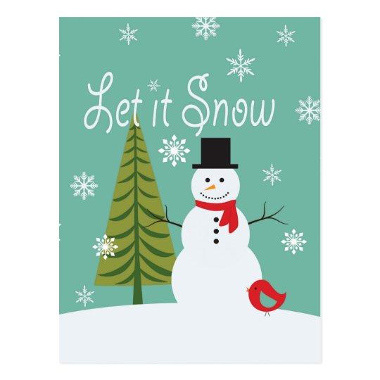 modern trends winter snowman postcard