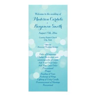 Modern Trendy Aqua Blue Wedding Program Template Rack Card