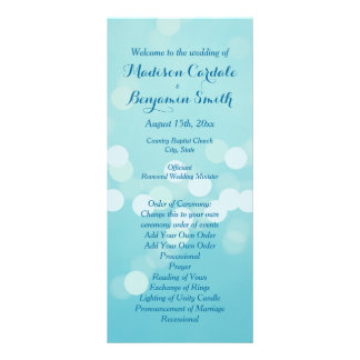 Modern Trendy Aqua Blue Wedding Program Template Rack Card Template