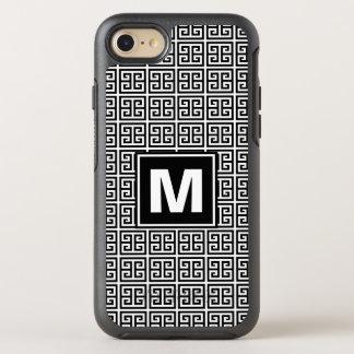 Modern, Trendy Black and White Greek Key Monogram OtterBox Symmetry iPhone 8/7 Case