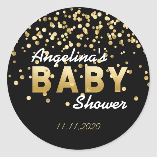 Modern Trendy Black Gold Confetti Baby Shower Classic