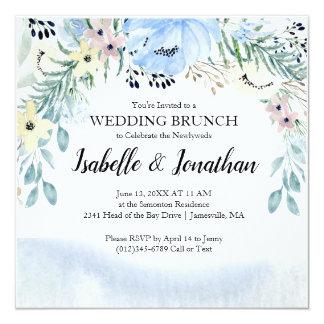 Modern &Trendy Blue Wedding Brunch Invitations