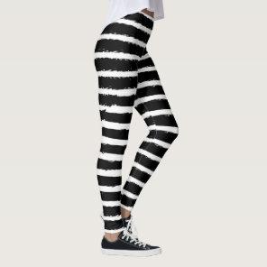 Modern Trendy Chic Black White Stripes Pattern Leggings