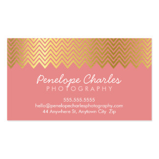 MODERN trendy cool gold foil chevron pattern coral Business Card