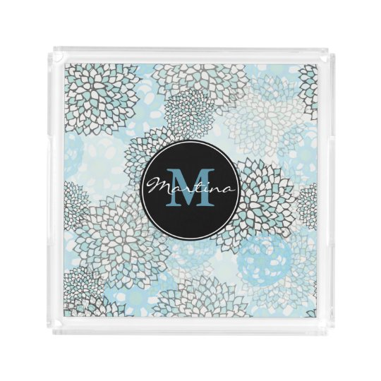 Modern Trendy Floral Pattern Personalised Acrylic Tray