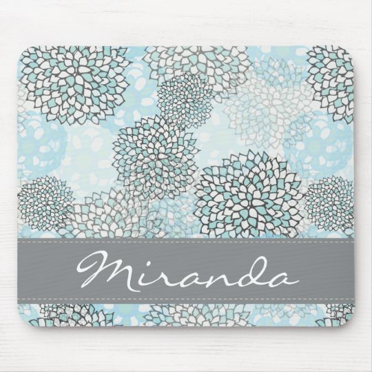 Modern Trendy Floral Pattern Personalised Mouse Mat