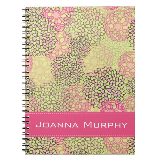 Modern Trendy Floral Pattern Personalised Notebooks