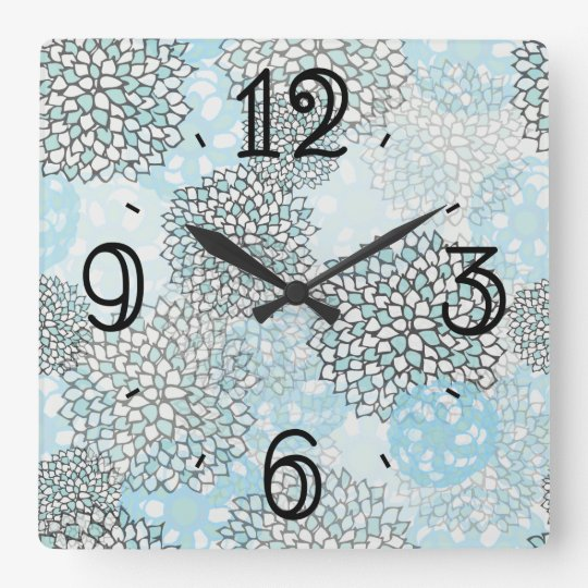 Modern Trendy Floral Pattern Square Wall Clock